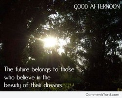 GOOD AFTERNOON CommentsYard.com The future belongs fo who believe in the beauty of their dreoms,'