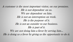 A customer is the most important lisitor, on our premises. 