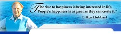 he clue to happiness is being interested in life. 