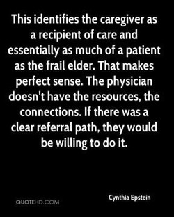 This identifies the caregiver as 