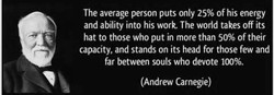 The average person puts only 25% of his energy 