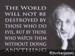 THE WORLD WILL NOT BE DESTROYED BY THOSE WHO DO EVIL, BUT BY THOSE WHO WATCH THEM WITHOUT DOING @ituckeriames