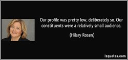 Our profile was pretty low, deliberately so. Our 