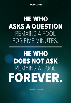 HE WHO ASKS A QUESTION REMAINS A FOOL FOR FIVE MINUTES. HE WHO DOES NOT ASK REMAINS A FOOL FOREVER. — Chinese Proverb