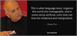 This is what language does: organize 