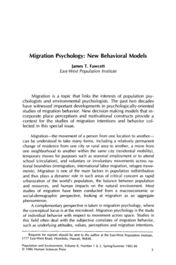 Migration Psychology: New Behavioral Models 