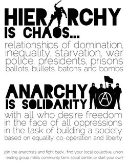 HIERftRCHY IS CH OS... relationships of domination, inequality, starvation, war oolice presidents prisons ballots, bullets batons and bombs ANARCHY with all who desire freedom in the face of all oppressions in the task of building a society based on equality, co-operation and liberty join the anarchists and fight back... find your local collective, union. reading group militia. community farm. social centeror start your own!