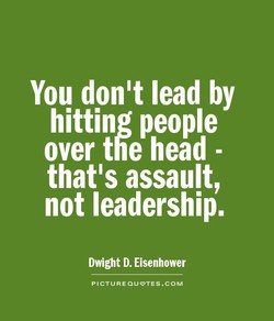 You don't lead by 