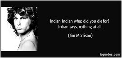 Indian, Indian what did you die for? 