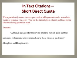 In Text Citations— 