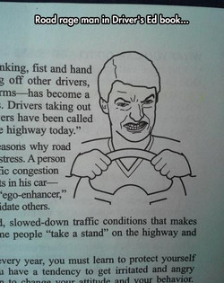 Road rage man in Driver's Ed book... 