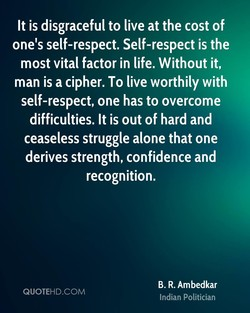 It is disgraceful to live at the cost of 