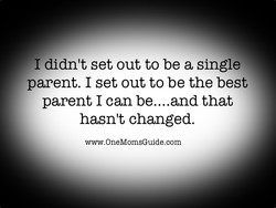 I didn't set out to be a single 