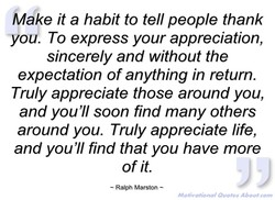 Ådake it a habit to tell people thank 