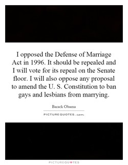 I opposed the Defense of Marriage 