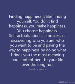 Finding happiness is like finding 