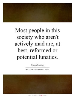 Most people in this society who aren't actively mad are, at best, reformed or potential lunatics. Susan Sontag PICTURE QUOTES.