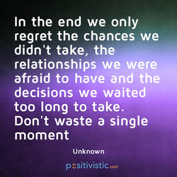 In the end we only 