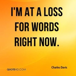 I'M AT A LOSS FOR WORDS RIGHT NOW. Charles Davis QUOTEHD.COM