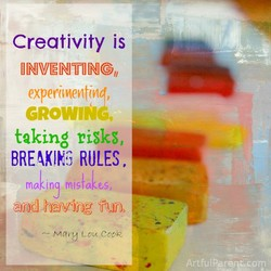 Creativity is experimentin(, taking risks, ma in mlS a 05, cook
