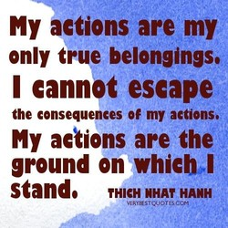 NY actions are my only true belongings, I cannpt escape the consequences of my actions. My actions are the ground on whicb*l stande HANH VERYBESTQUOTSCOM