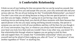 A Comfortable Relationship 