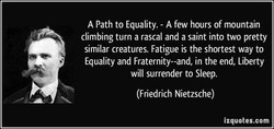 A Path to Equality. - A few hours of mountain 