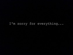 I'm sorry for everything...