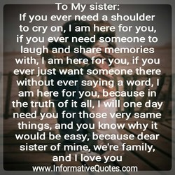 To My sister: 