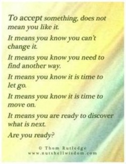 To accept something, does not mean you like it It means know you can •t change it. It means know you need to find another vvay. It means know it is time to let ga It means you know it is time ro move om It means you are ready dig-over What is next. Are you ready?