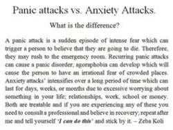 Panic attacks vs, Anxiety Attacks. 