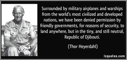 Surrounded by military airplanes and warships 