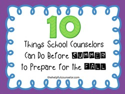 Things School Counselors 