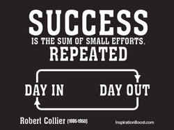 SUCCESS IS THE SUM OF SMALL EFFORTS, REPEATED DAY IN Robert Collier (1885-1950) DAY OUT InspirationBoost.com