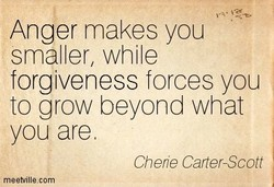 Anger makes you smaller, while forgiveness forces you to grow beyond what you are Cherie Carter-Scott meetvillecom
