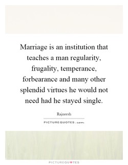 Marriage is an institution that 