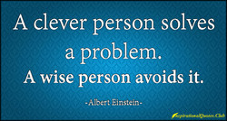 A clever person solves a problem. A wise person avoids it. -Albert Einstein-