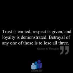 Trust is earned, respect is given, and 