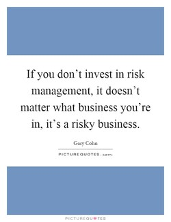 If you don't invest in risk 