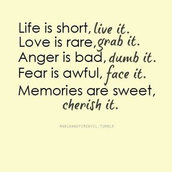 Life is short, live it. Love is rare,gnab it. Anger is bad, duncb it. Fear is awful, face it. are chepi,fh it. TUMBLR