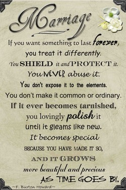 If you want something to Last you treat it differently. SHIELD it andPROTECT it. Yo-wVCVC2 ab-tuøt. You don't expose it to the elements. You don't make it common or ordinary. If it ever becomes tarnished, you lovingly it until it gleams IjKe new. It becowtey special/ BECAUSE YOU HAVE MADE IT SO, AND GROWS more Leauli/u/anl/) rectous —F. Burtow Howard—