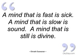 A mind that is fast is sick. 