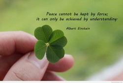 Peace cannot be kept by Force; 
