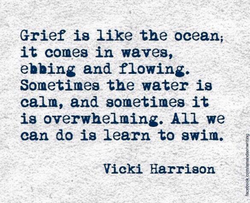 Grief is like the ocean; it comes in waves, ebbing and flowing. Sometimes the water is calm, and sometimes it is overwhelming. All we can do is learn to swim. Vicki Harrison