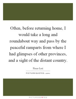 Often, before returning home, I 