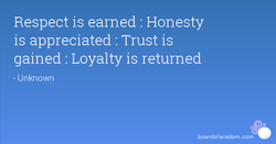 Respect is earned : Honesty 