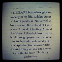 I DECLARE breakthroughs are 