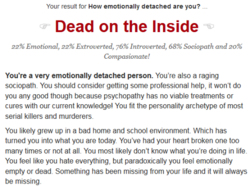 Your result for How emotionally detached are you? 