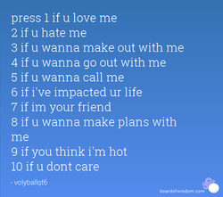 press 1 if u love me 