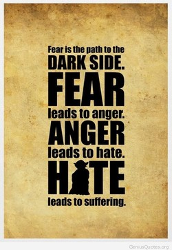 Fear is the oath to the DARK SIDE. FEAR leads to anger. ANGER leads to hate. leads to suffering. GeniLlsQl_l otes org